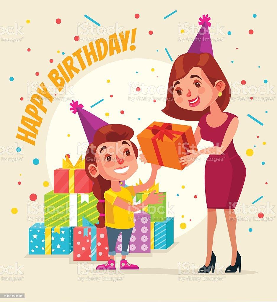 Little Girl Character Birthday Mom Give Gift Box Lizenzfreies Vektor Illustration