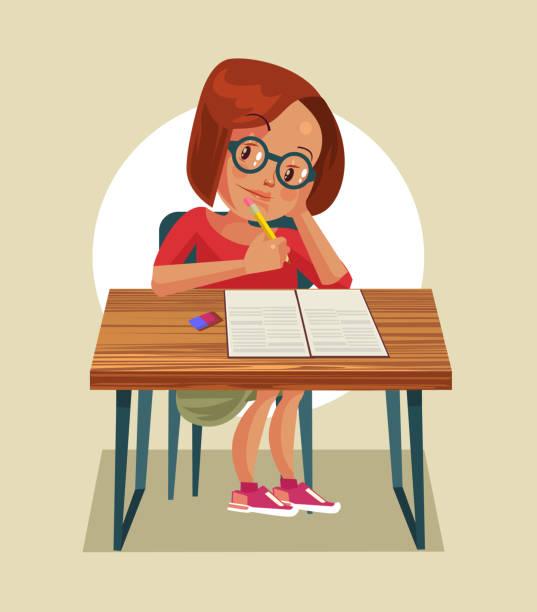 ilustrações, clipart, desenhos animados e ícones de personagem de menina pequena fazendo lição de casa - aula de redação