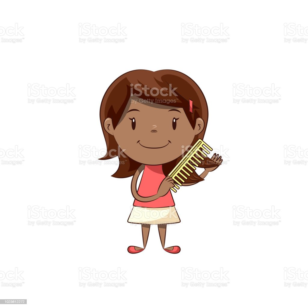 Little Girl Combing Hair Stock Illustration Download Image Now Istock