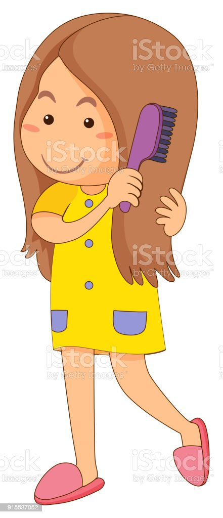 royalty free girl combing hair clip art vector images