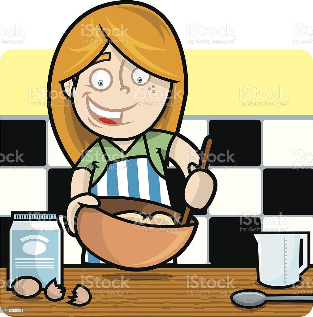 Little Girl Cook royalty-free stock vector art