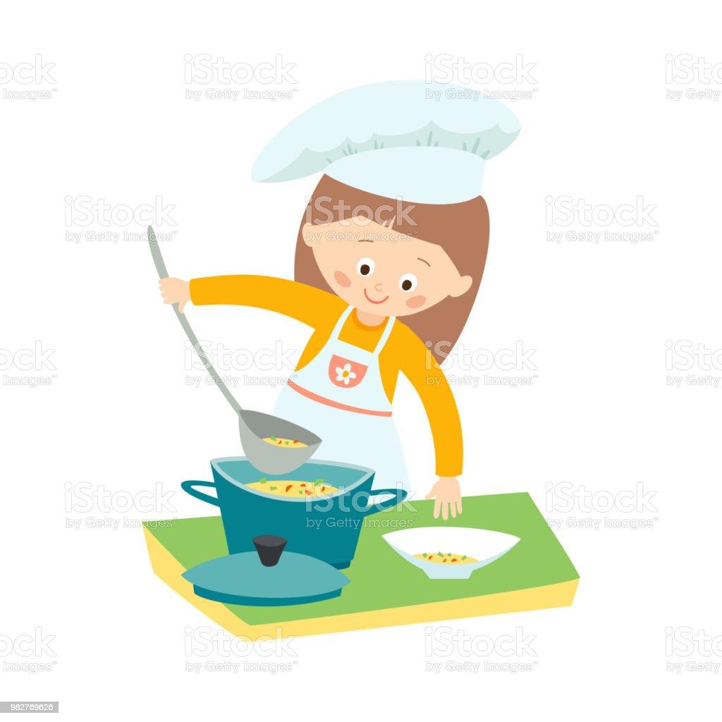 Menina, cozinhar uma sopa. Pequeno chef. Vetorial mão desenhada eps 10 clip arte ilustração isolada no fundo branco. - ilustração de arte em vetor