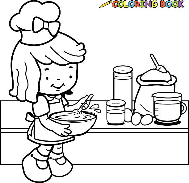 Vectores de Libro Para Colorear Con Divertidos O Chef Cocinar y ...