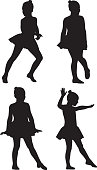 Vector silhouette of a group of little girl dancers.
