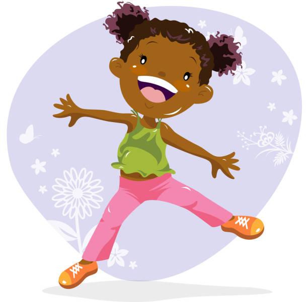Little Girl Dancing in Spring vector art illustration