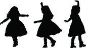 Vector silhouettes of a little girl dancing in three different poses.