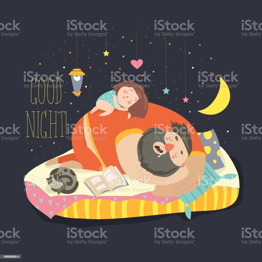 Little girl daughter and her dad sleeping vector art illustration