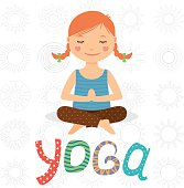 Kids Yoga Logo Club Little Girl Doing