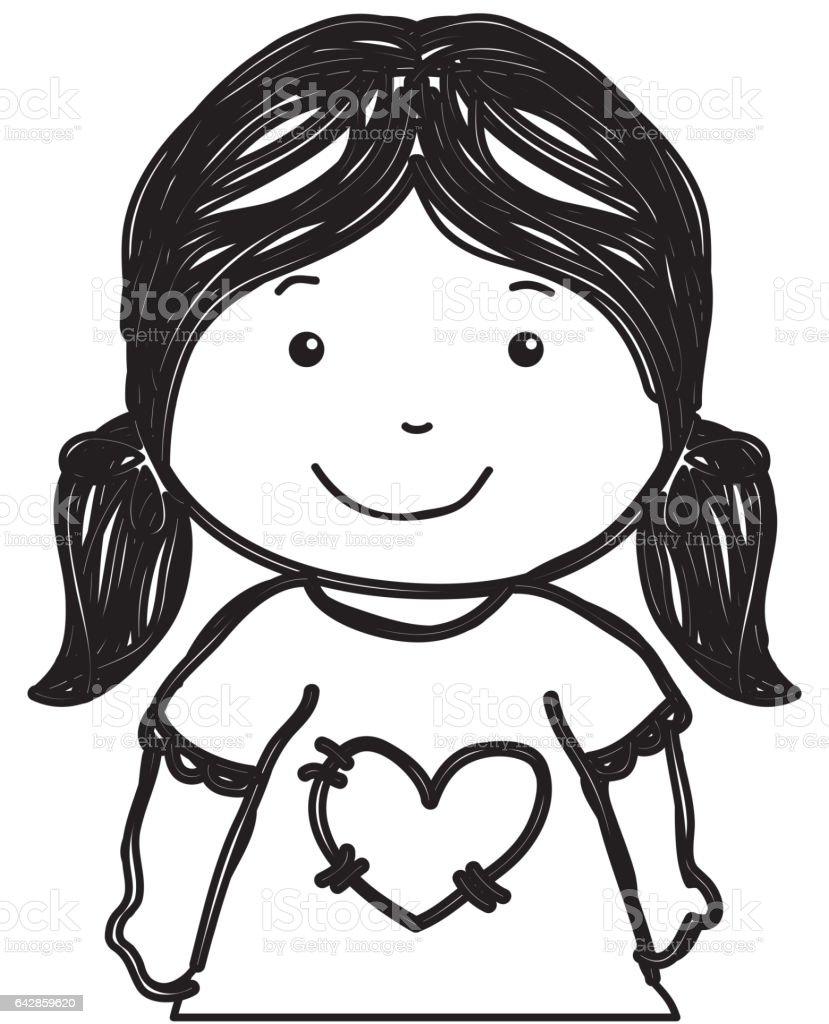 Küçük kız çizim izole simgesi royalty free küçük kız çizim izole simgesi stok vektör sanatı
