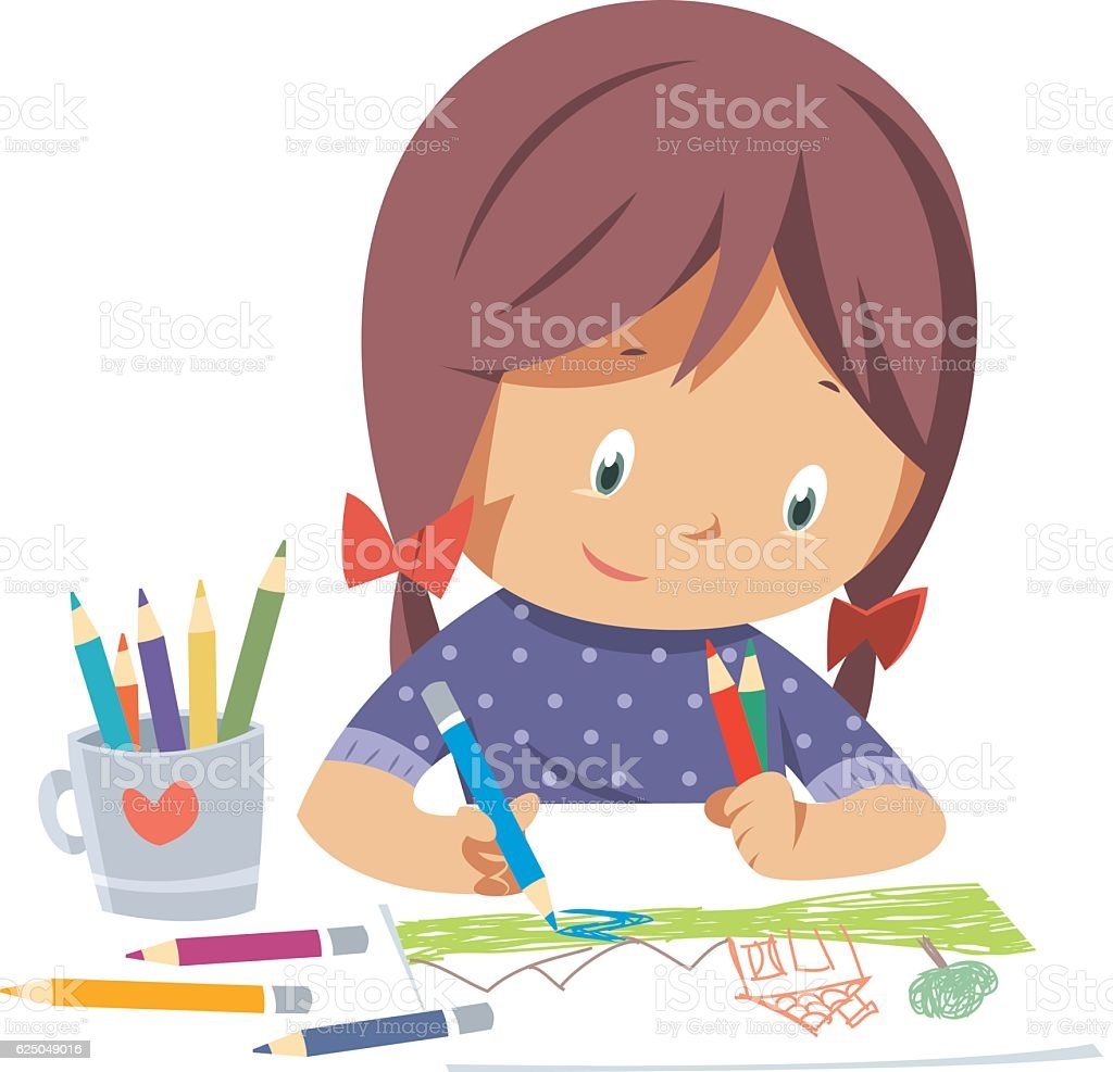 Little girl drawing vector art illustration