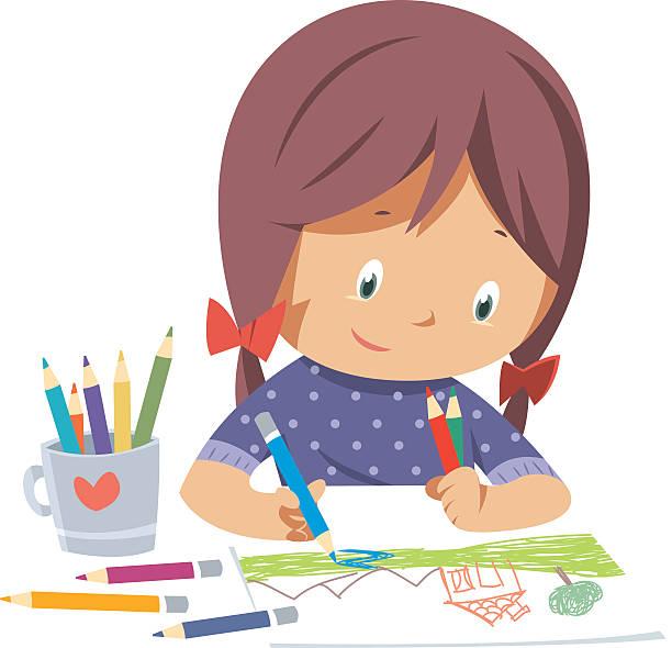 Little girl drawing vector art illustration