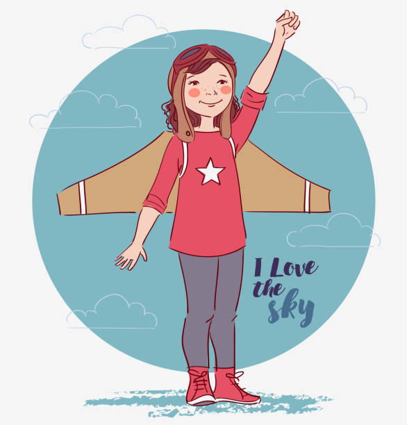 illustrations, cliparts, dessins animés et icônes de petite fille rêve de devenir pilote - nuage 6