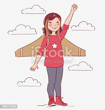 Little Girl Dreaming Of Becoming A Pilot Stock Vector Art More Images 4 5 Years 946745382