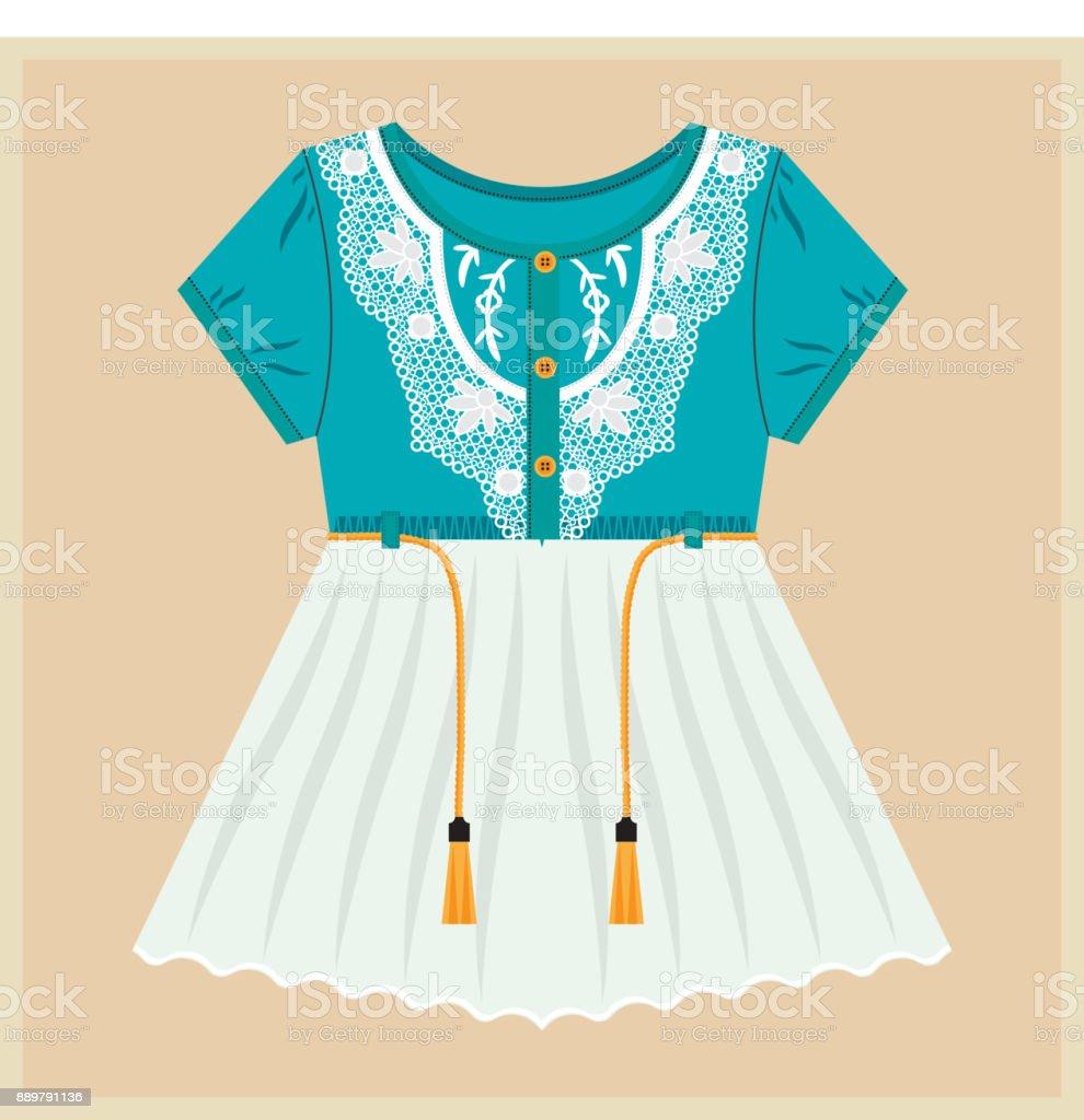 Little Girl Dress. Vintage Vector Clothes for Kids. Blue Top, White Bottom. Laces, Strings vector art illustration