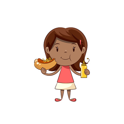 Little girl eating hot dog, happy cute child