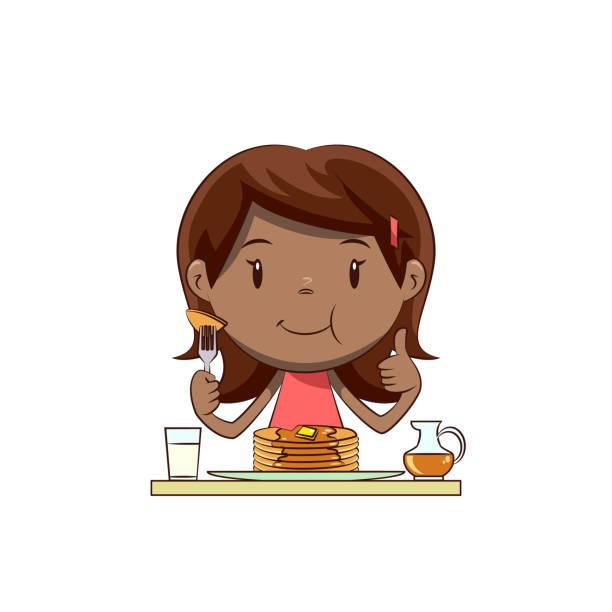 パンケーキを食べる少女 - パンケーキ点のイラスト素材/クリップアート素材/マンガ素材/アイコン素材