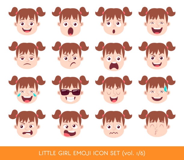 illustrazioni stock, clip art, cartoni animati e icone di tendenza di little girl emoji icon set - kids kiss embarrassed