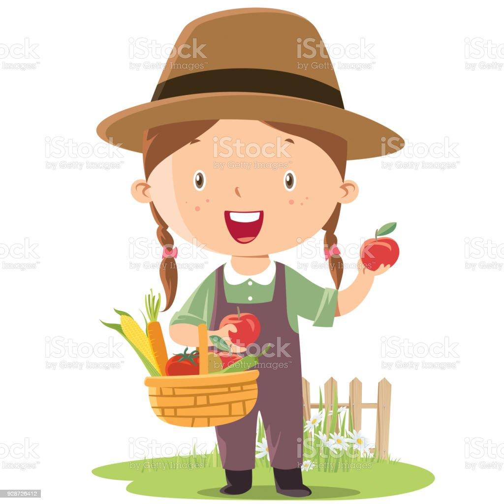 pequeño agricultor de chica - ilustración de arte vectorial