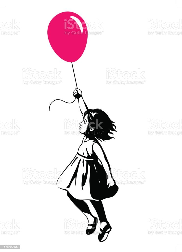 Little girl floating with a red balloon, street art graffiti style - illustrazione arte vettoriale