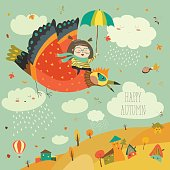 Little girl flying in the sky with funny birds. Vector illustration
