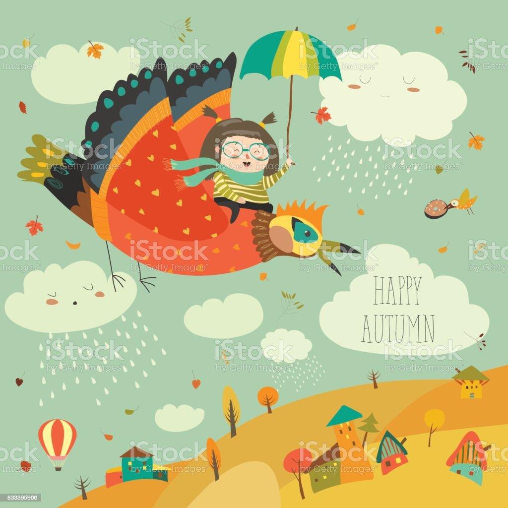 Little girl flying in the sky with funny birds vector art illustration