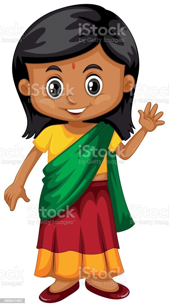 royalty free clip art of indian girl student clip art vector images rh istockphoto com Girl Clip Art Girl Scout Clip Art