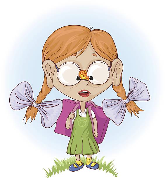 kleines mädchen geht zur schule - grundschule stock-grafiken, -clipart, -cartoons und -symbole