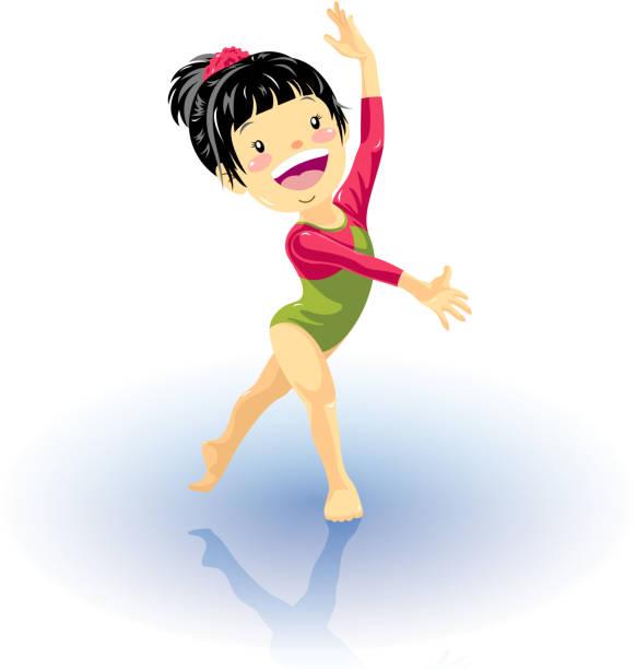 bildbanksillustrationer, clip art samt tecknat material och ikoner med little girl gymnastics - gym skratt