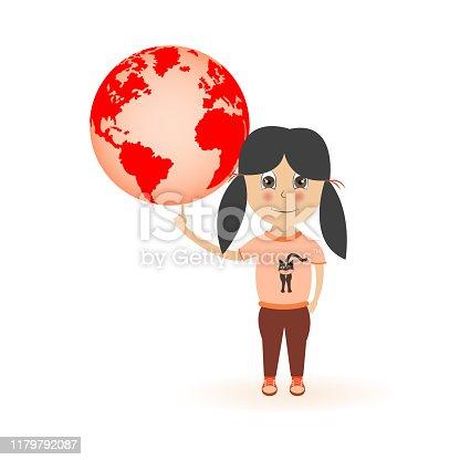 Little girl has globe on finger