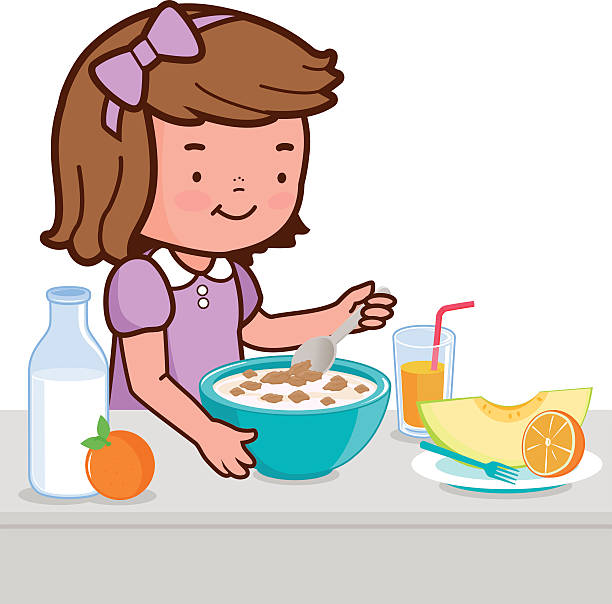 Royalty Free Kid Eating Breakfast Clip Art, Vector Images ...