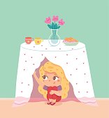 Little girl hiding under table in kitchen. Playing hide and seek with friends at home vector illustration. Kid peeking from table cloth, fun childhood game and cheerful pastime.