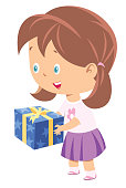 Vector little girl holding a gift box