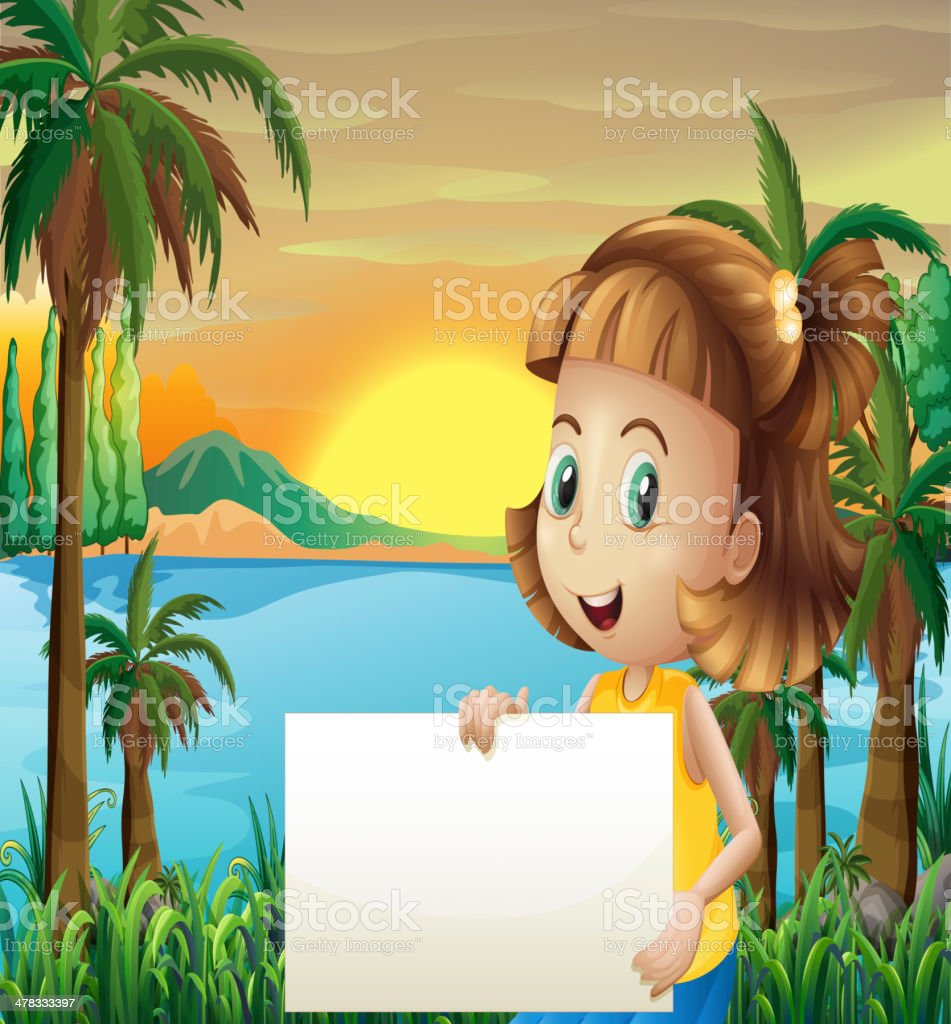 Little girl holding an empty signage royalty-free stock vector art