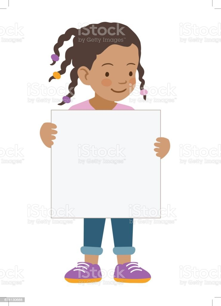 little girl holding blank sign template stock vector art more