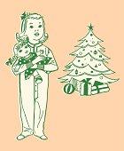 Little Girl Holding Doll at Christmas