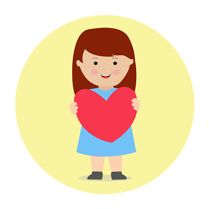 Little Girl Holding Heart Love Cushion Cartoon Illustration Vector Graphic