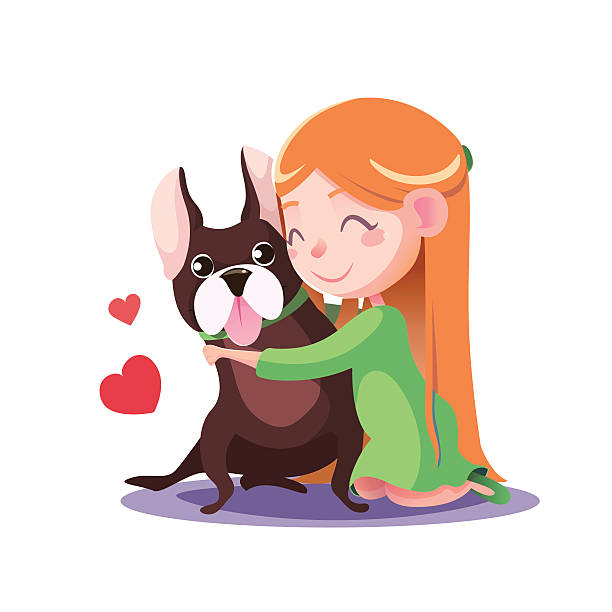 little girl hugging a french bulldog - wunschkinder stock-grafiken, -clipart, -cartoons und -symbole
