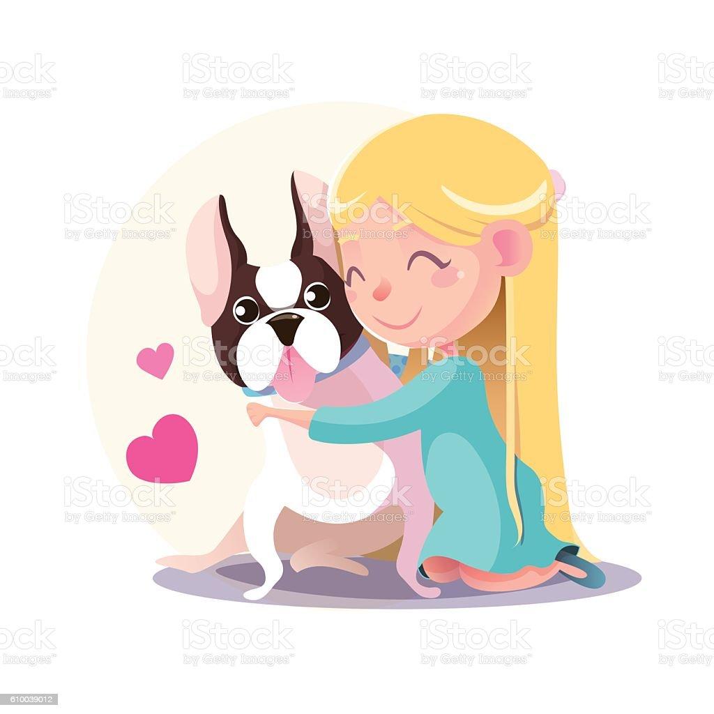 Little Girl hugging a French bulldog