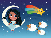 Little girl illustration in night and sleep theme.