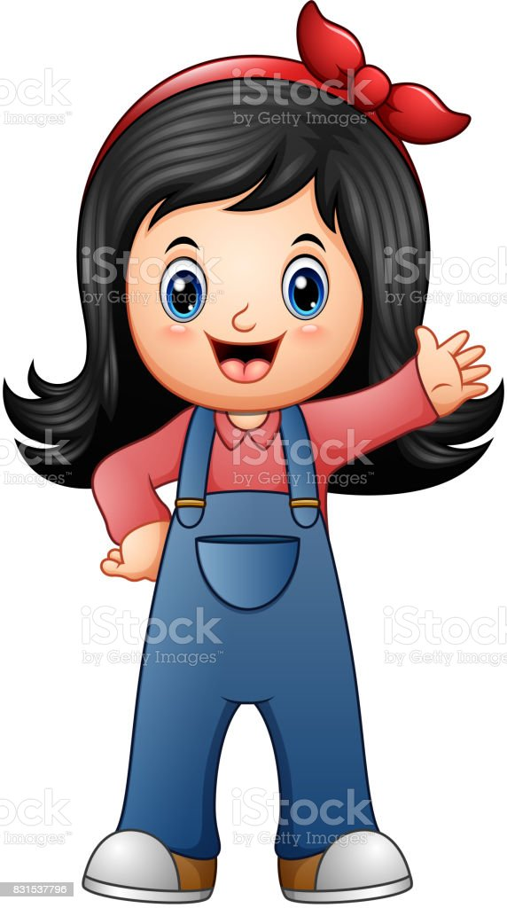 Little girl in blue overalls vector art illustration