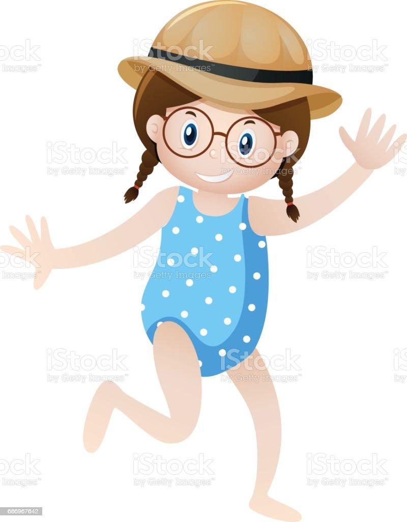 Kleines Mädchen im blauen Badeanzug – Vektorgrafik