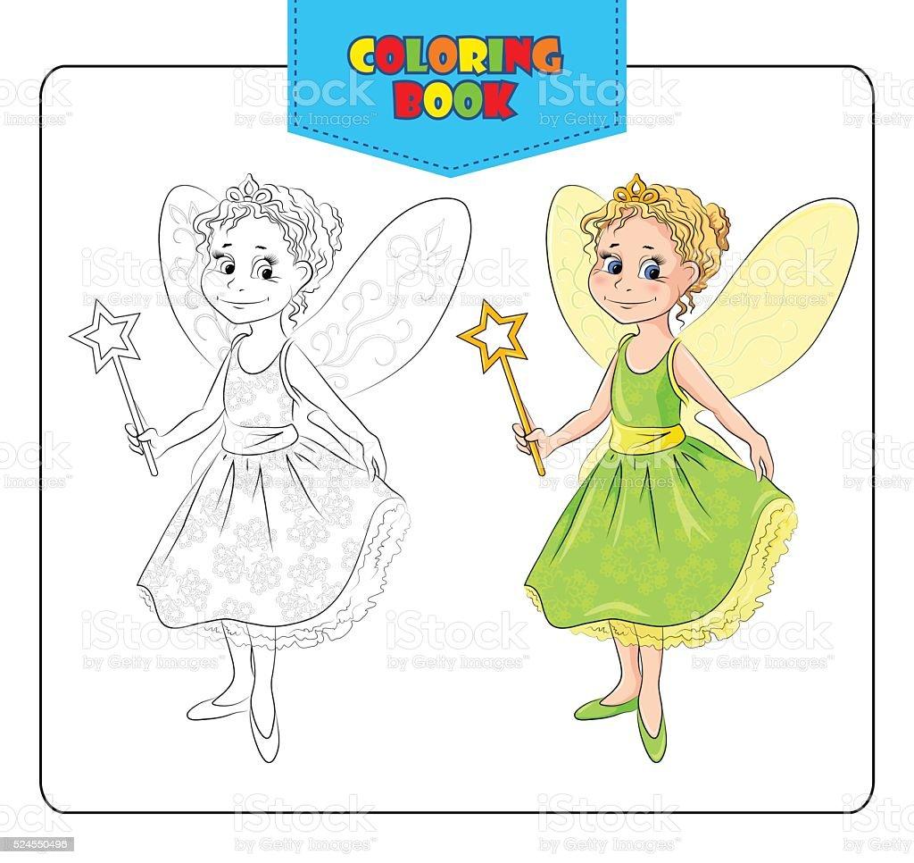 маленькая девочка в костюм феи карнавал книжкараскраска