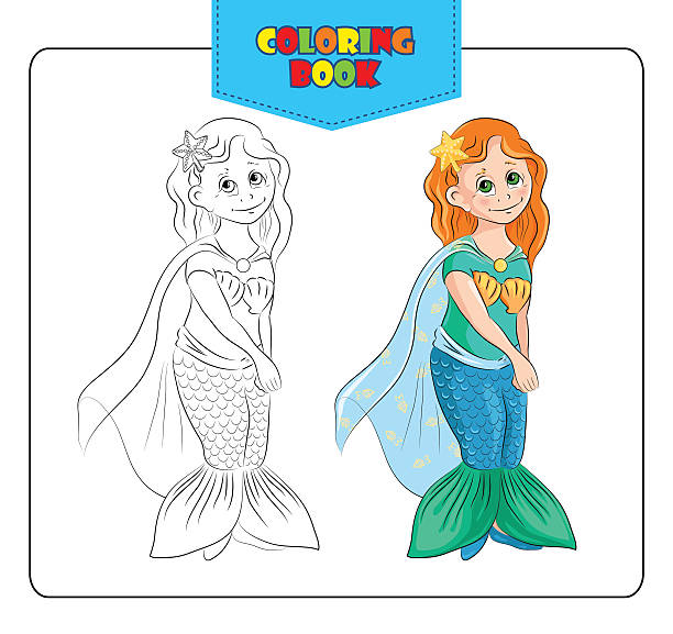 Vectores de Libro Para Colorear Con Los Niños Niña Sirena y ...