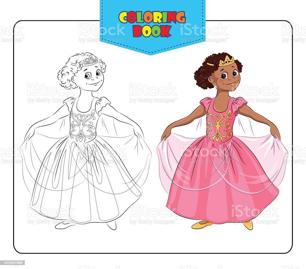 Little girl in carnival costume Princess. Coloring book vector art illustration