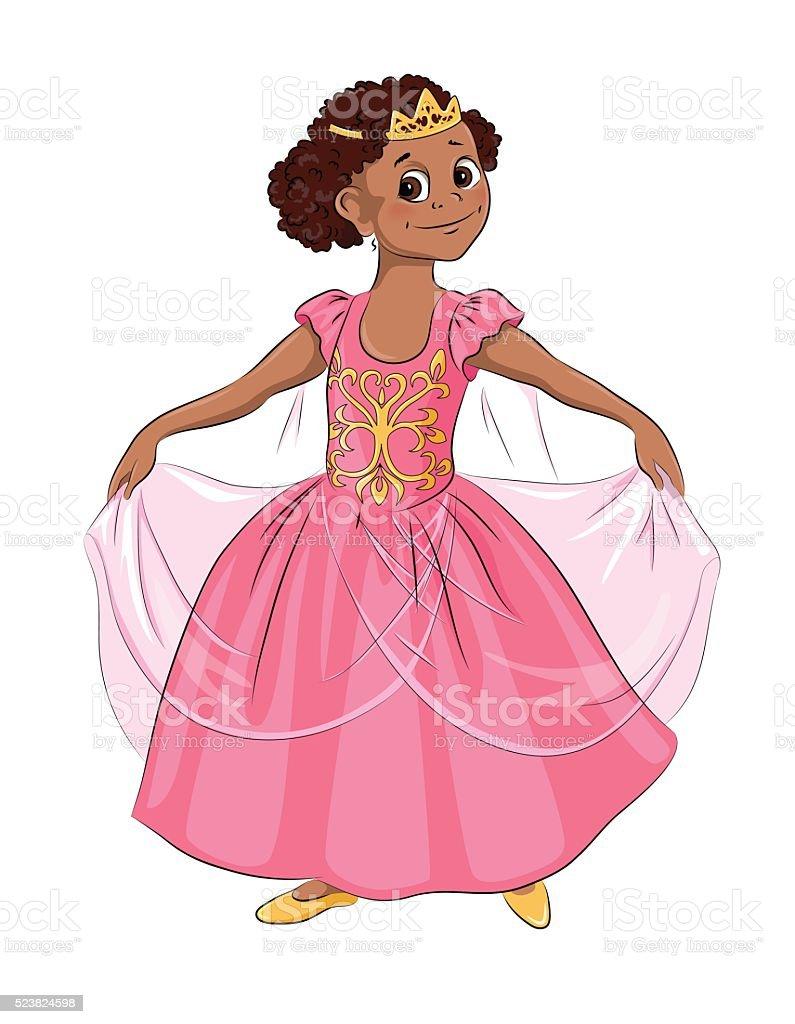 Little girl in carnival costume Princess vector art illustration