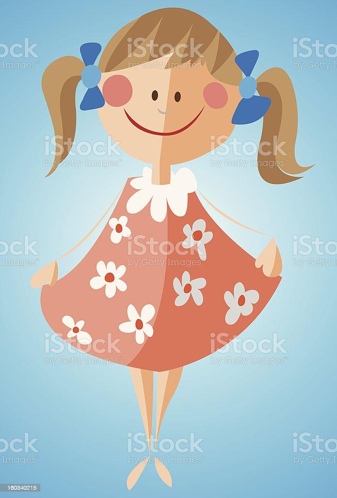 Little girl in flowered dress royalty-free stock vector art