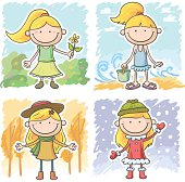 Little girl in four season situation, Autumn, Summer, spring, winter, in colour