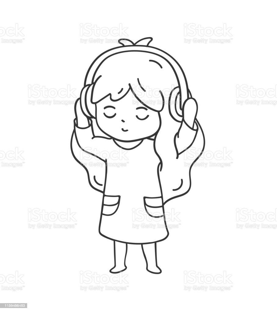 Ilustracion De Nina En Auriculares Escuchando Musica Y Mas