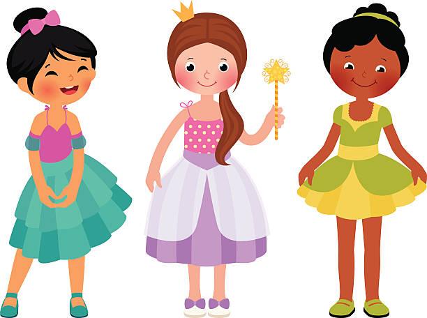 Little girl in princess costume vector art illustration