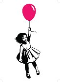 Vector hand drawn black and white silhouette illustration of a cute little toddler girl in a summer dress floating in mid air, holding a pink red balloon. Street art stencil style design element